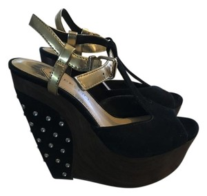 Gianni Bini Suede Studded Wedge Black Wedges