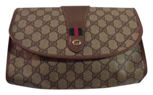 Gucci Cosmetic brown leather/large G logo print coated canvas & red/green striped accent Clutch