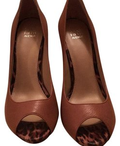 Saks Fifth Avenue Tan with leopard heel Pumps