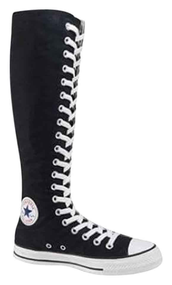 Converse Black with White Taylor All Star Knee High Sneakers ... b52a0c340