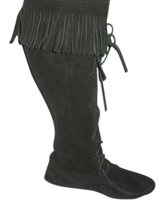 Minnetonka Leather Fringe Tall Black Boots