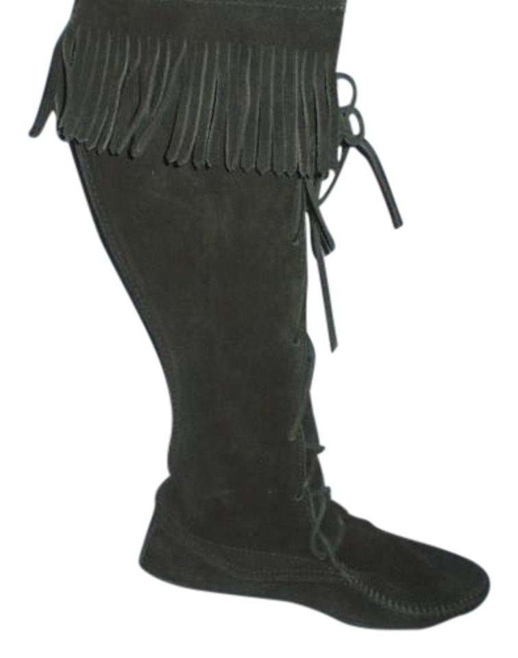 5fd578918cd Minnetonka Black Suede Leather Classic Tall Knee-high Fringe Lace-up  Boots Booties Size US 7 Regular (M