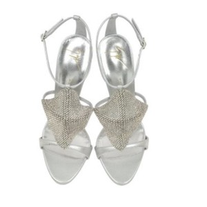 Giuseppe Zanotti Mesh Metallic Stiletto Crystal silver Sandals