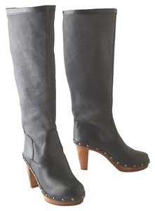 Anthropologie Chic Clogs Inner Platform Clogs Pull On Clogs Canvas Leather Clogs Handmade Clogs Smoke Boots