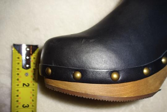 Anthropologie Chic Clogs Inner Platform Clogs Pull On Clogs Canvas Leather Clogs Handmade Clogs Smoke Boots Image 6