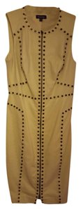 BE BE Leather studded pencil dress.