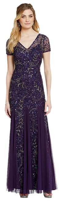 Preload https://img-static.tradesy.com/item/20225113/adrianna-papell-amethyst-beaded-short-sleeve-a-line-gown-long-formal-dress-size-4-s-0-1-650-650.jpg