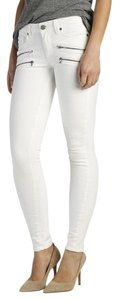 Paige Denim Edgemont Skinny Zippers Stretch White Skinny Jeans-Light Wash