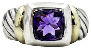 David Yurman Vintage Amethyst Noblesse Ring in 14k Yellow Gold and Sterling Silver