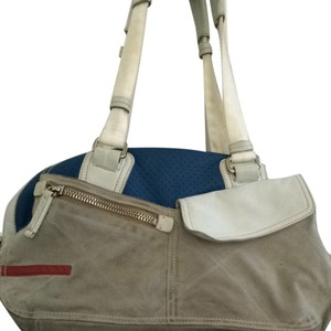 Prada Sports Duffle Tote in Blue and White