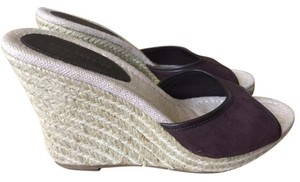Ann Taylor Wedge Espadrille Suede Brown Sandals