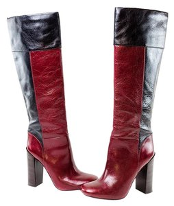 Tory Burch Color-blocking Cranberry/Black Boots