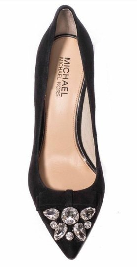 Michael Kors Suede Leather Crystals Rhinestones Black Pumps Image 1