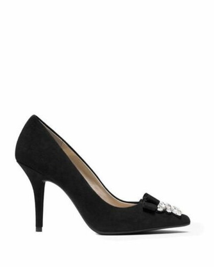 Michael Kors Suede Leather Crystals Rhinestones Black Pumps Image 2