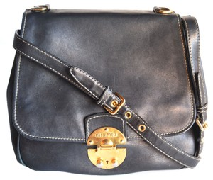 Miu Miu Black Leather Flap Prada Cross Body Bag