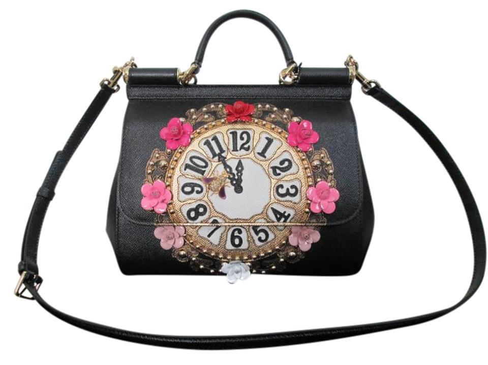 1ffecdd4ef Dolce Gabbana Dolce   Gabbana Leather Clock Flower Satchel in Black Image 0  ...