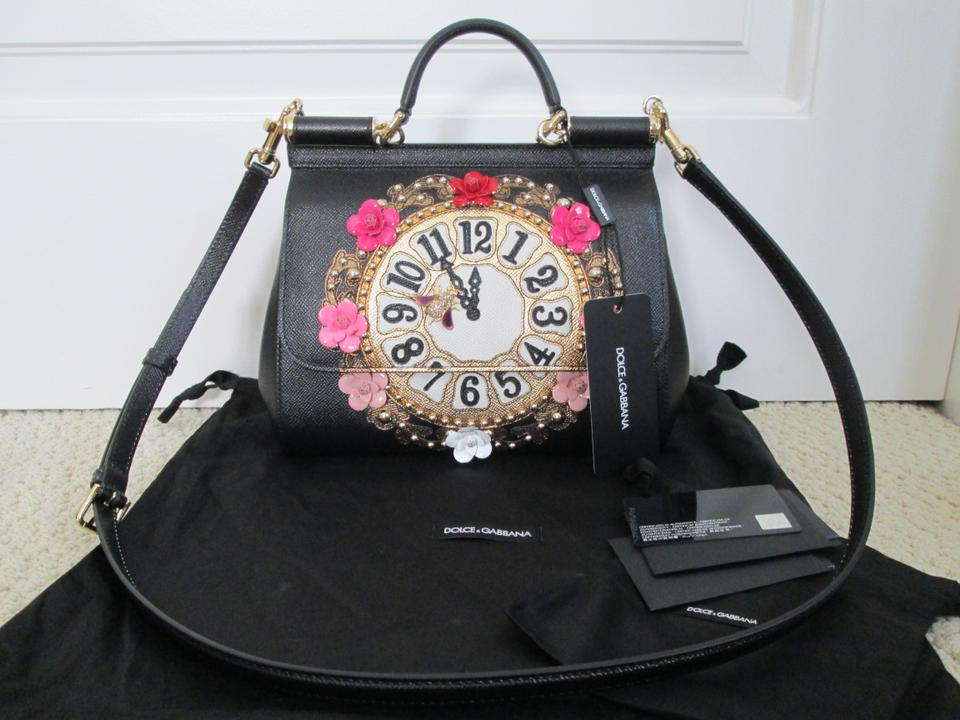 a1598e1d55 Dolce Gabbana Dolce   Gabbana Leather Clock Flower Satchel in Black Image  11. 123456789101112