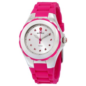 Michele Tahitian Jelly Bean Silicone Strap Pink Crystals Sport Ladies Watch