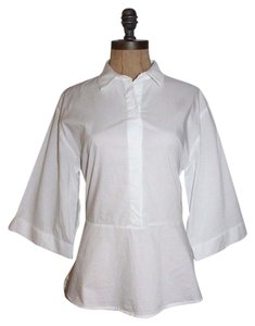 H&M Back Ties Peplum Shirt Top WHITE