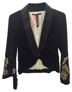Robert Rodriguez Velvet Embroidered Lapel Black Jacket