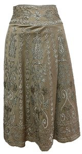 Basil & Maude Embroidered Skirt Taupe and Silver
