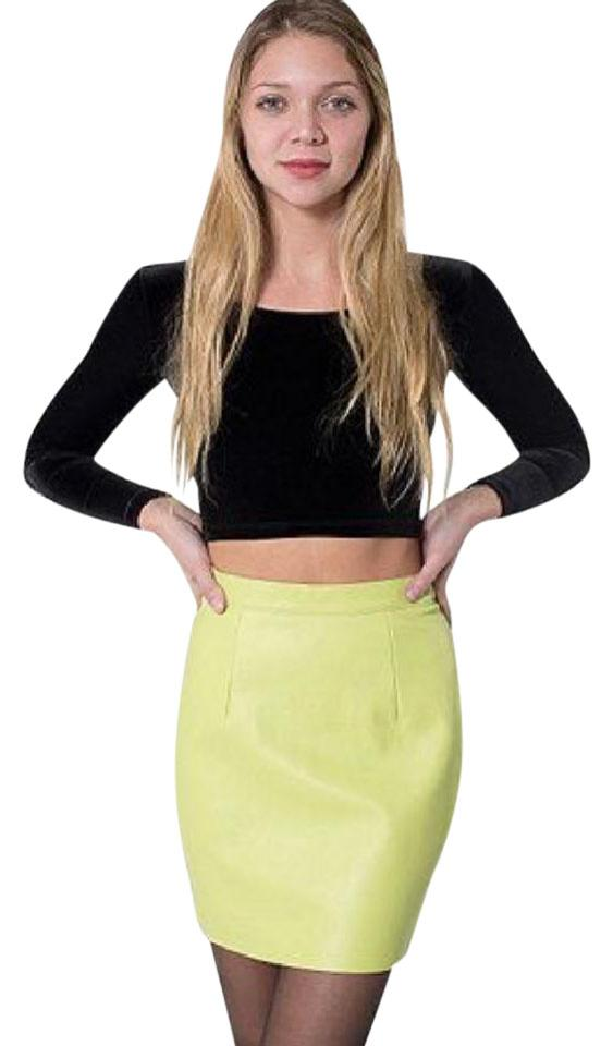 superior materials new list outlet online Bright Green Leather Skirt