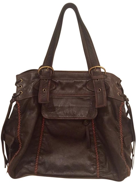 Item - Bag Brown Stitched Italian Calf Leather Oversize Vtg Tote