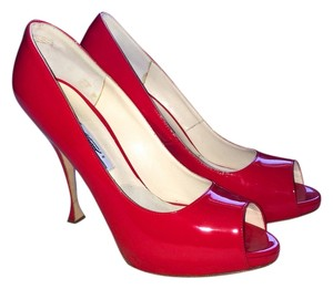 Brian Atwood Patent Leather Red Pumps