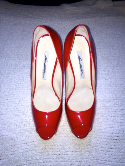 Brian Atwood Patent Leather Peep Toe Peeptoe Lipstick Patent Patent Leather Red Pumps