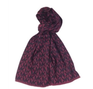 Michael Kors NWT MICHAEL KORS MK REPEAT SCARF WRAP BURGUNDY BLACK