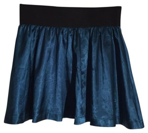 Forever 21 Party Short Silky Silk Mini Skirt Teal with black waistband