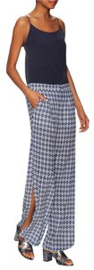 Twelfth St. by Cynthia Vincent Silk Blue Print Side Slit Capri/Cropped Pants