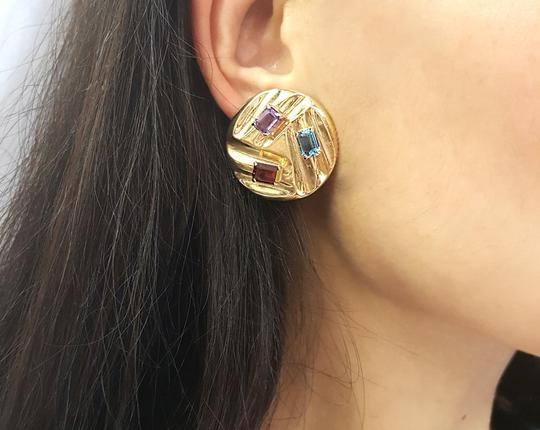 DeWitt's Beautiful 14K Yellow Gold And Color Stones Stud Clip Earrings Image 1
