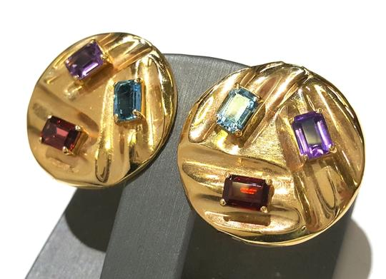 DeWitt's Beautiful 14K Yellow Gold And Color Stones Stud Clip Earrings Image 3