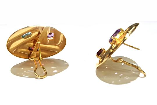 DeWitt's Beautiful 14K Yellow Gold And Color Stones Stud Clip Earrings Image 4