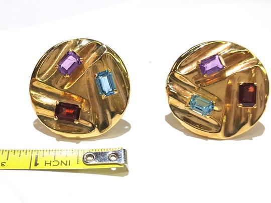 DeWitt's Beautiful 14K Yellow Gold And Color Stones Stud Clip Earrings Image 5