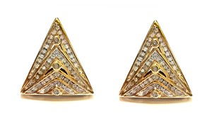 DeWitt's Beautiful 14K Yellow Gold And 110 Genuine Diamonds Triangle Earrings