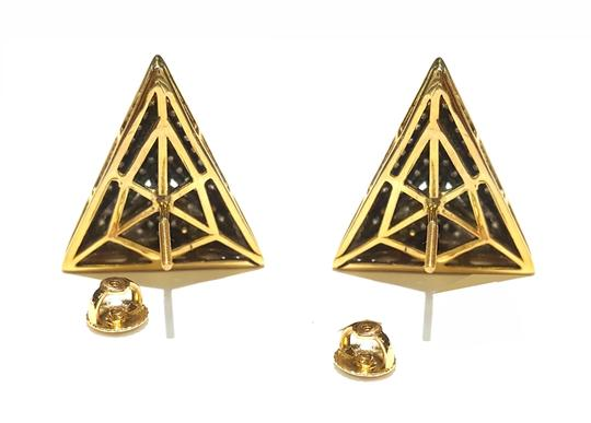 DeWitt's Beautiful 14K Yellow Gold And 110 Genuine Diamonds Triangle Earrings Image 2
