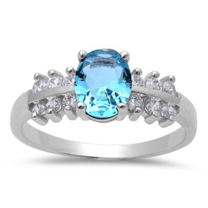 9.2.5 Gorgeous aquamarine and white sapphire princess cocktail ring size 7