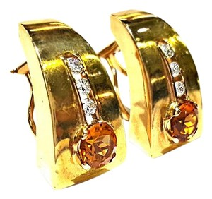 DeWitt's Beautiful 14K Gold With Orange Gemstone And Diamonds Earrings