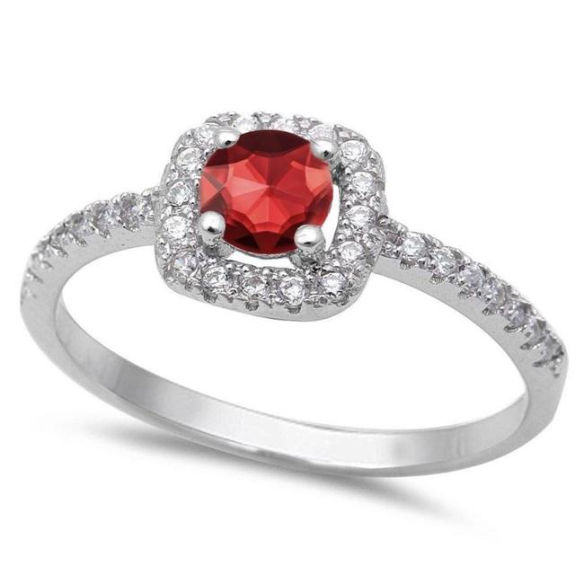 Item - Red Ruby and White Topaz Cocktail Size 7 Ring