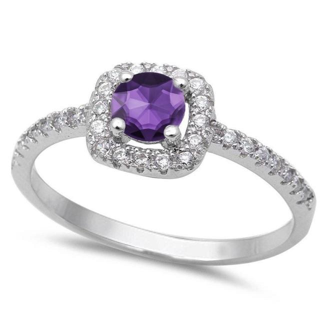 Item - Purple Amethyst and White Topaz Cocktail Size 7 Ring