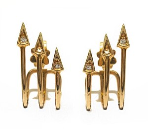 DeWitt's Very fashion 14K Yellow Gold And Diamonds Arrow Earrings