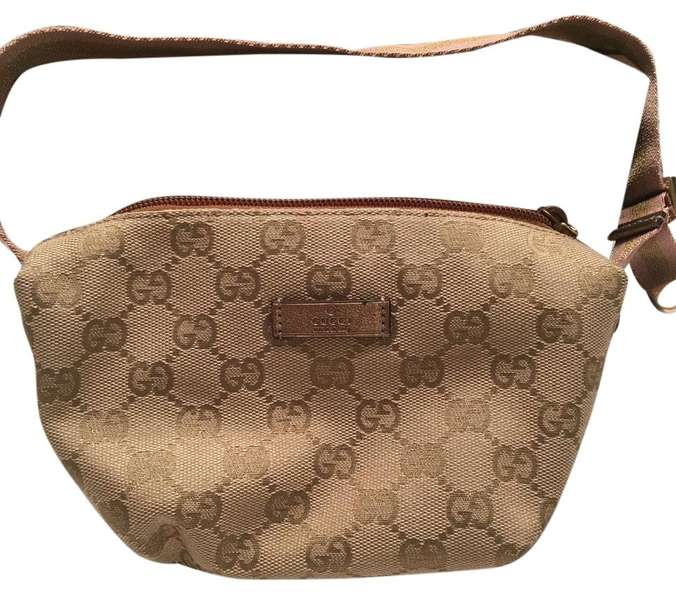 c31ecc6163e7 Gucci Cosmetic Gloss Gold and Pink Monogram Cloth/Leather Weekend/Travel Bag