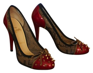 Christian Louboutin Black Patent Patent Leather Candy Lace Mesh Fishnet Round Toe Gold Hardware Spike Studded Zipper Red Pumps