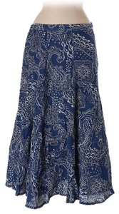 Coldwater Creek Printed Cotton Petite Short Maxi Skirt blue