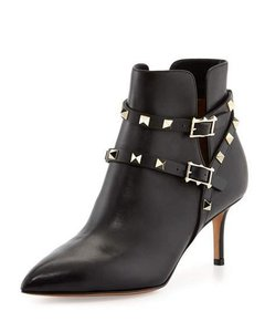 Valentino Rockstud Studded Bootie Ankle Black Boots