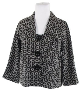 Max Studio Retro Swing Coat Embroidered Black/White Jacket