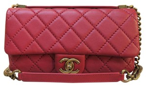Chanel Calfskin Leather Satchel in red