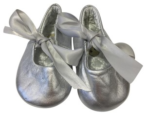 DESIGNER'S TOUCH Ballet Satin Leather SILVER METALLIC Flats